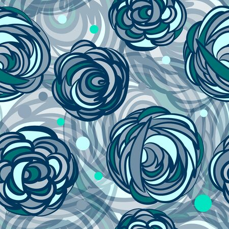 Seamless background with patterns Abstract roses flowers Çizim