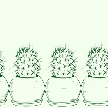 Background seamless with a green cactus in a pot drawn by hand Vector illustration.