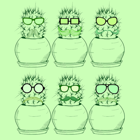 Set with cartoon cactus in glasses with a mustache