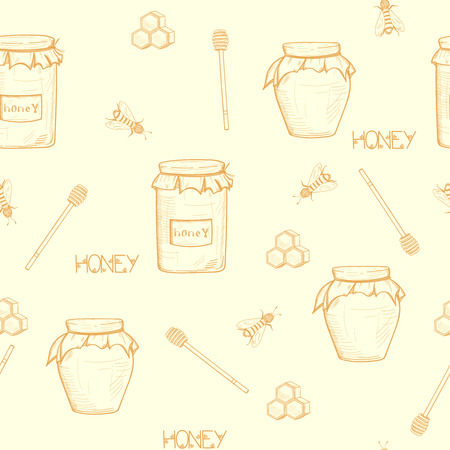 Seamless honey background with a jar of honey, a spoon for honey, honeycomb and bees.