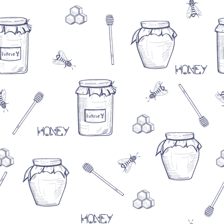 Seamless honey background with a jar of honey, a spoon for honey, honeycomb, bees