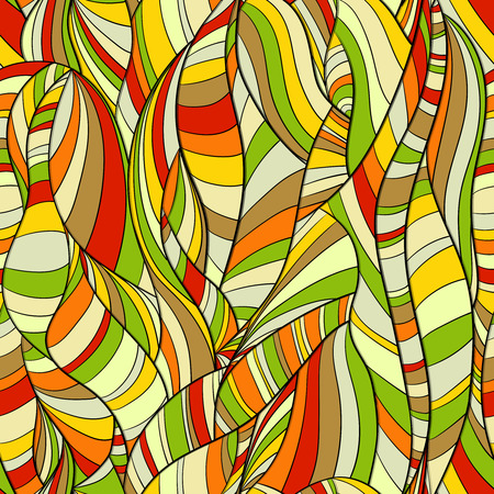 Multicolored seamless background pattern abstract lines and waves Çizim