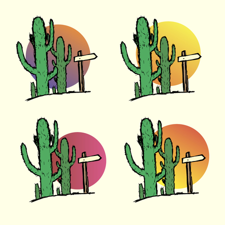 Set of cacti in the desert with a pointer. Hand-drawn Çizim