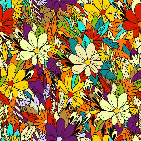 Seamless background colorful floral pattern with daisies.