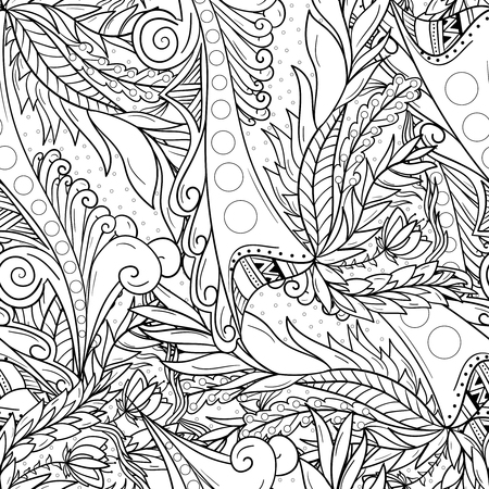 Seamless background patterns with abrstact waves and leaves.
