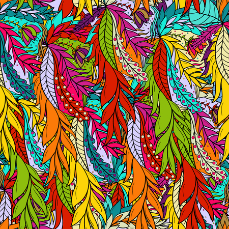 Seamless pattern background with abstract leaves. Çizim