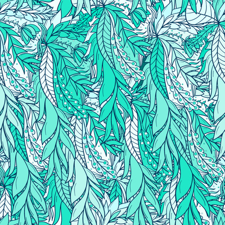 Seamless pattern background with abstract colorful leaves.