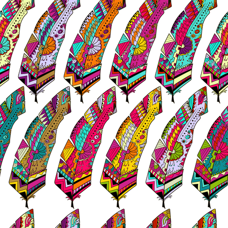 Seamless background with abstract colorful feathers patterns Çizim