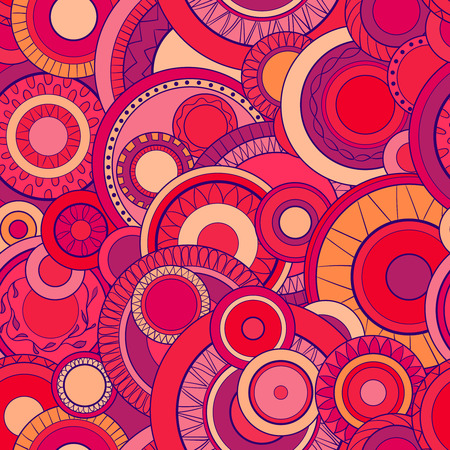 Seamless background with abstract circles. Geometric pattern. Hand drawn illustration Çizim
