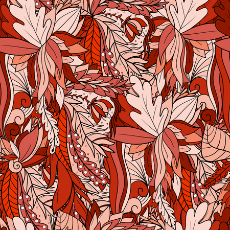 Seamless pattern with abstract leaves and flowers background
