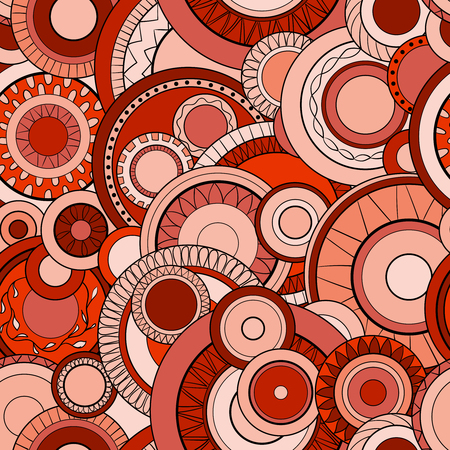 Seamless background with abstract circles. Geometric pattern. Hand drawn illustration Çizim