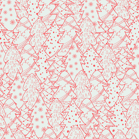 Seamless Christmas background with Christmas trees. New year pattern for your design