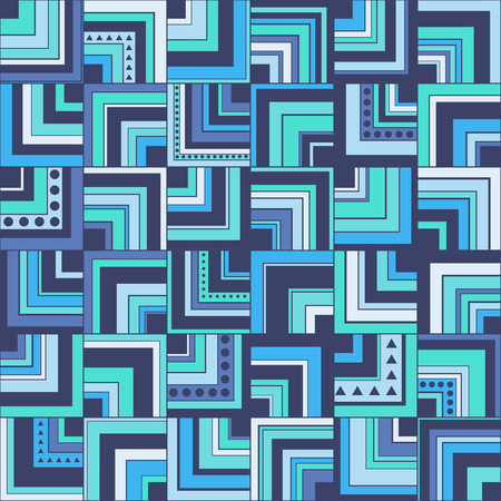 Seamless geometric pattern background with squares, circles and triangles
