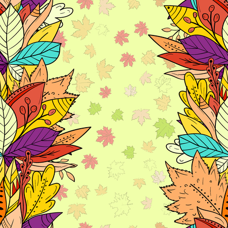 Seamless background with falling autumn leaves. Greeting card for your design Çizim