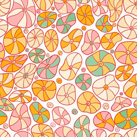 Seamless background with abstract cartoon ocean shells. Nautical pattern Çizim
