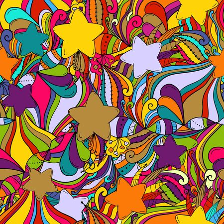 Seamless background with stars,leaves,flowers and berries. Ornament for decorative surfaces: fabric. wallpaper, paper, etc. Holiday symbols.