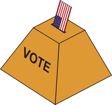 Vote depicted as US flag to represent the whole country voting. Illustration