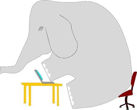 awkward: La com�nmente figura ret�rica est� representada aqu� como un elefante trabajando en una sala de negocios. Vectores