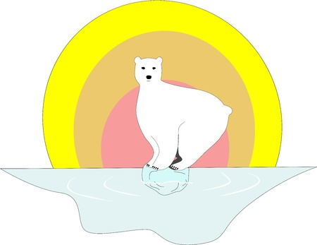 Polar bear sits still at a very small piece of iceberg.