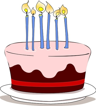 Nut and cherry cake with strawberry icing and candles on top. Illustration