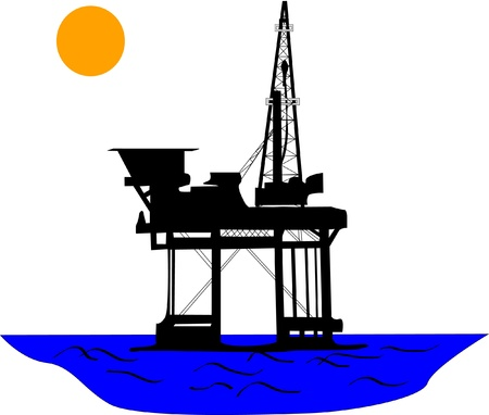 Oil platform in the middle of sea, under the sun.