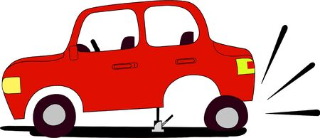annoyance: Red car with flat tire waits assistance from anyone who would like to help.