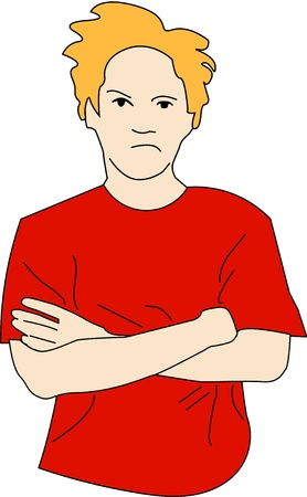Young man with crossed arms in bad mood.