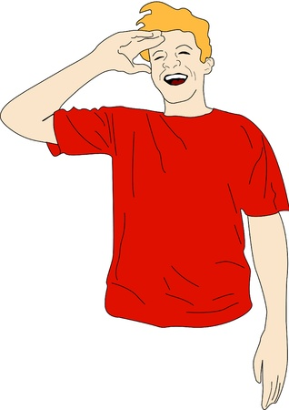 ridicule: Guy in red shirt laughing out loud. Illustration