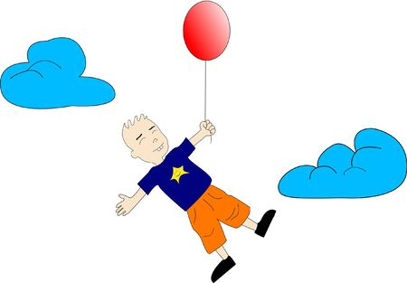 Kid with red balloon goes up in the air. Illustration