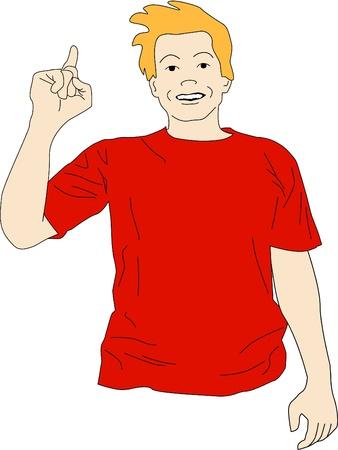 presencia: Guy en camisa roja levanta su mano para se�alar que tiene una idea. Vectores