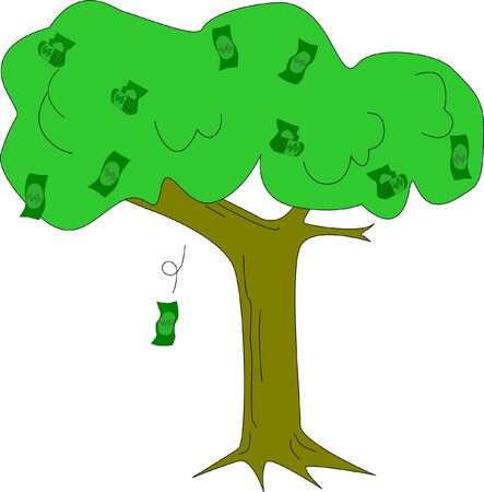 A tree which fruits are money bills. Illustration