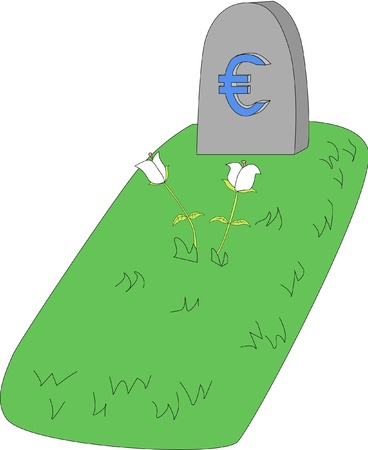An engraved stone marks the place where Euro currency lies after suffering major blows in Europe. Illustration