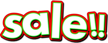 Colorful sale sign which letters are tipped in a crazy way. Illustration