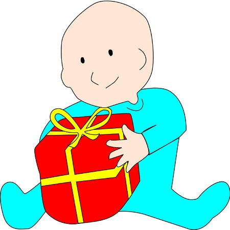 Baby gets a red and yellow wrapped gift for Christmas or birthday.