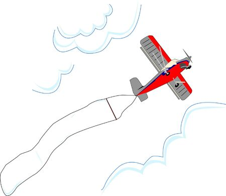 Small red and grey airplane flies between clouds carrying a blank advertising flag.