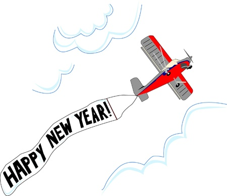 Small red and grey airplane flies in the sky carrying a Happy New Year flag.