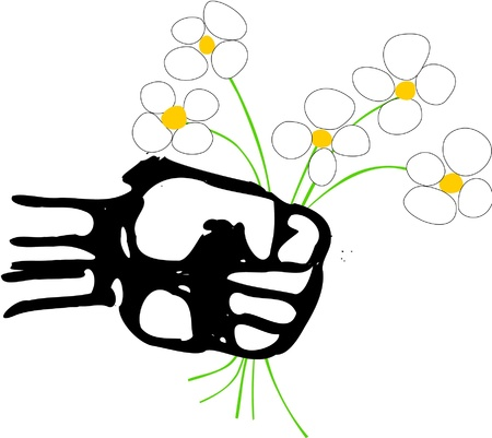 unfold: A strong powerful rough fist holds a bunch of daisies that represents the Arab spring movement across the Arabic world.