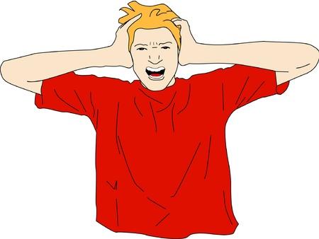 Jonge man schreeuwt met zijn handen op zijn hoofd in wanhoop en frustratie. Vector Illustratie