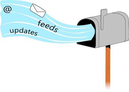Buzón de regular la recepción de todos los diferentes tipos de correo. Ilustración de vector
