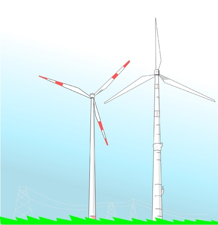 Two wind turbines propelled by wind on plain green field connected with electric power transmission towers behind.