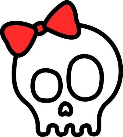 calavera caricatura: Tattoo-como el cr�neo, adornado con un lazo rojo.
