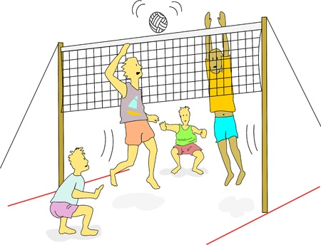 Young men wearing light weight clothes play beach volleyball outdoors.   Vector