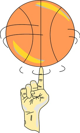 Finger of a persons hand spins a basketball.