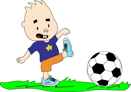Kid plays with soccer ball on the grass. Stock Vector - 14851669
