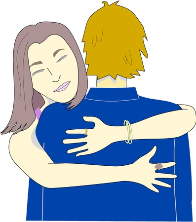 Young woman hugs a man that could be her friend, partner or work colleague.