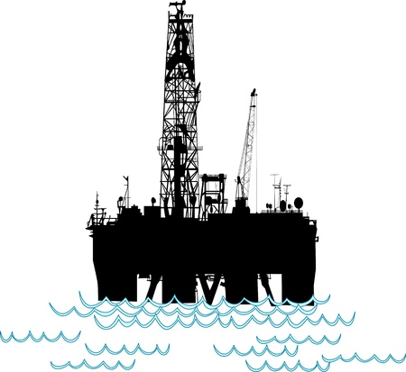 Silhoutte of an oil rig in the middle of the ocean.