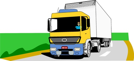 Yellow, blue and white cargo truck moves on an empty road
