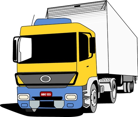 Yellow blue cabin truck used to transport cargo  Vector