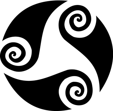 Waves drawings forming a spyral circular tattoo. Vector