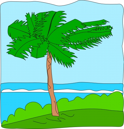 A palm tree blows with the wind, near the coastline, on top of a raised strip. Illustration